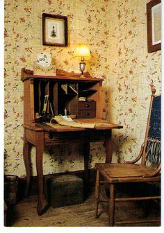 """""""LAURA'S DESK In her study in the house on Rocky Ridge Farm near Mansfield, Missouri, Laura Ingalls Wilder did much of her writing. Her desk is preserved as she left it. The home where the 'Little House' books were written is now a museum. Laura Ingalls Wilder, Ingalls Family, Entryway Tables, Wisconsin, Rustic, Interior, Room, Inspiration, Furniture"""