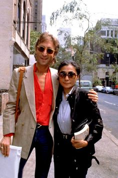 john lennon and yoko ono in manhattan, 1980.   John was painfully thin just before he was murdered.