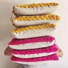 Chunky knit cushions in Mustard and Bright Pink, perfect for a splash of colour and a hit of texture Pink Cushion Covers, Cushion Pads, Custom Cushions, Decorative Cushions, Mustard Cushions, Knitted Cushions, Colourful Cushions, Pink Throw Pillows, Moss Stitch