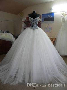 White Ball Gown Wedding Dresses 2014 Blingbling Crystal Sequins Wedding Gowns BO5540 from Bestdeals,$132.62 | DHgate.com