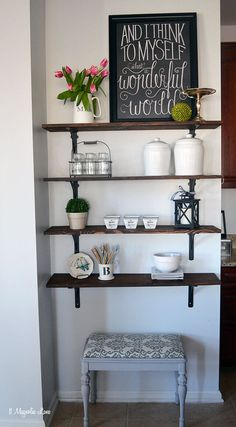 Farmhouse Shelf Decor Ideas with White Canisters