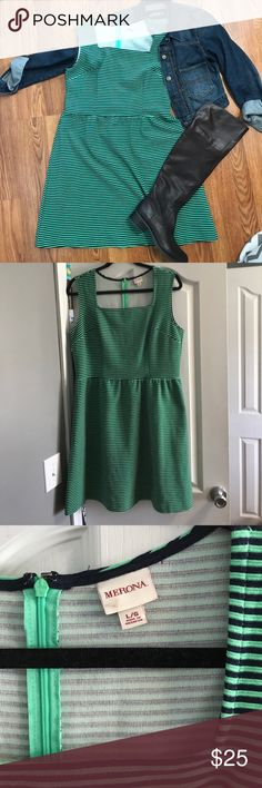 Merona Green & Navy Stripe Square Neck Dress Perfect for all seasons! I love in the fall with boots and jean jacket or navy Cardigan and leopard belt! Also a good neutral Stripe to pair with Floral Cardigan! Appx 36 inches from shoulder to bottom. Flatters larger chest. Merona Dresses