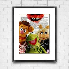 Muppets Dictionary Print, Kermit-Fozzie-Miss Piggy-Animal, Ready to Ship, Home Decor, Wall Art, Digital Print, Valentines Gift, Made in USA - pinned by pin4etsy.com