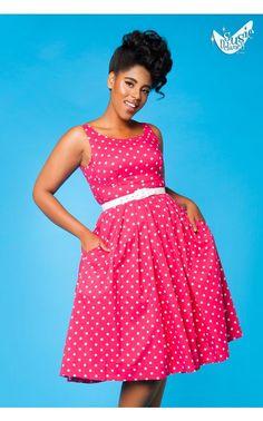 Isobel Dress in Raspberry Polka Dot