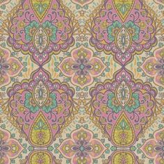 Bindi (397810) - Eijffinger Wallpapers - An intricate paisley of sumptuous colours, inspired by Indian opulence in bold shades of pink, turquoise, purple, lime and gold on a linen-effect vinyl. Additional colourways also available. Please order sample for true colour and texture match.
