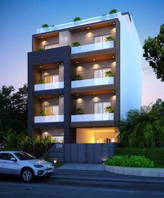 yes House Front Design, Condo Design, Modern House Design, Apartment Design, House Elevation, Front Elevation, Facades, Building Design, Farm House