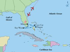 Key West is part of the Caribbean island chain, and this travel map shows just how close Key West really is to the Bahama Islands. Not so hard to imagine how the seafaring Bahamian people greatly influenced the settling of the Florida Keys when Spain ceded Florida to the U.S.  www.gate1travel.com Royal Caribbean Ships, Caribbean Sea, Serenade Of The Seas, Daisy Scouts, Bahamas Cruise, Gulf Of Mexico, Travel Maps, Nassau, Florida Keys