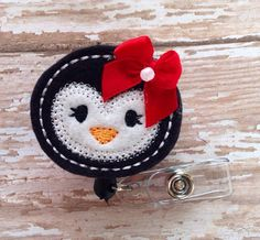Penguin retractable badge reel, Christmas felt badge reel, Holiday retractable badge reel, Penguin id badge reel, badge reel, christmas