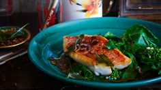Crisp skin red fish on wilted gai lan with hot and sour tamarind sauce and fried basil leaves | Substitute the red fish fillet with any white fish fillets with skin on. It also looks fantastic if you serve the sauce over a whole fish, such as bream.