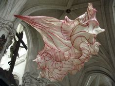 paper flower installation in French abbey by Peter Gentenaar.  via paradis express