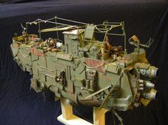 // // This fantastic piece was hand crafted by the amazing Laurent Perini of France! Utilizing the fantastic design of Ian McQue, Laurent made this piece as if it could be a filming miniature Steampunk Airship, Dieselpunk, Flying Boat, Flying Ship, Sci Fi Models, Spaceship Concept, Model Hobbies, Environmental Art, Skulls