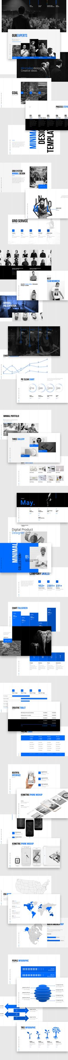 Grids_Minimal Presentation Template:140 Unique slides.24 color option.Full HD…