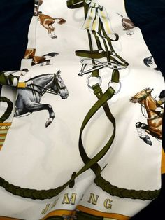 Authentic vintage Hermes shawl Opera Scarf, Jumping by Philippe Ledoux