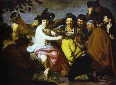 Bachus, Oil by Diego Velazquez (1599-1660, Spain)