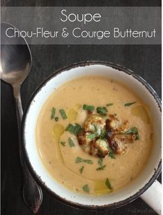 This is not pie: Soup with cauliflower and butternut squash Chili Recipes, Veggie Recipes, Fall Recipes, Soup Recipes, Healthy Recipes, Veggie Food, Complete Recipe, Roasted Cauliflower, Everyday Food