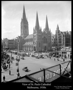 https://flic.kr/p/b71yue   View of St. Pauls Cathedral, Melbourne, 1930s   Copyright expired image. Original image from The State Library of Victoria. Creator: Victorian Railways This Image has been restored by Foto Supplies, Albury, NSW, Australia