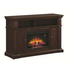 Hampton Bay Chatham 56 in. Media Console Electric Fireplace in Dark Coast Birch-82919 at The Home Depot