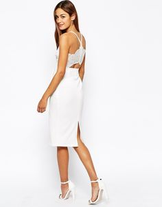 'Oh My Love' midi body-conscious dress with cace plunge neck and open lace back is one of the most popular items on ShopStyle right now!