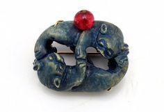 Antique Qing Chinese Carved Dyed Turquiose Steatite Double Happiness Brooch Pin   eBay, starting at $899.99