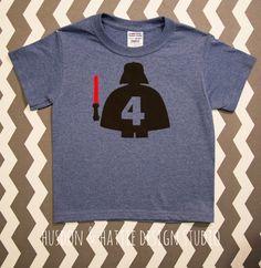 Darth Vader Shirt, Lego Darth Vader Shirt, Birthday Shirt, Star Wars Shirt, Custom Made Applique, You Customize NO NAME by HudsonandHattie on Etsy https://www.etsy.com/listing/187958813/darth-vader-shirt-lego-darth-vader-shirt