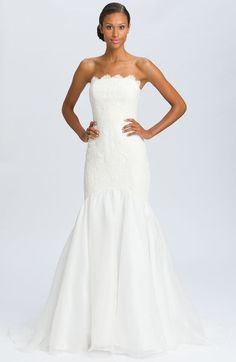 Theia Lace Overlay Strapless Mermaid Gown - Lyst
