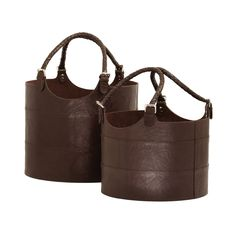 Brown Nested Espresso Leather Buckets- Set of 2