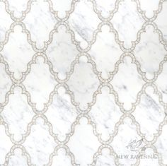 Dervish, a waterjet and hand cut stone mosaic shown in polished Calacatta Tia, is part of the Silk Road Collection by Sara Baldwin for New Ravenna Mosaics. <br /> <br /> Take the next step: prices, samples and design help, http://www.newravenna.com/showrooms/