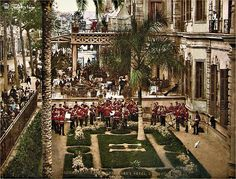 Postcard of Shepheard's Hotel; Military Concert - Cairo In Egypt Art, Old Egypt, Cairo Egypt, Ancient Egypt, Shepheard's Hotel, Cairo City, Alexandria Egypt, Kairo, Vintage Pictures