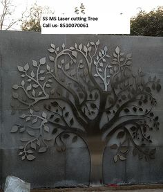 Discover recipes, home ideas, style inspiration and other ideas to try. Tree Design On Wall, Stone Wall Design, Steel Gate Design, Ceiling Design, Door Design, Metal Sheet Design, Cnc Cutting Design, Laser Cutting, Stainless Steel Gate