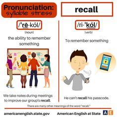 Pronunciation - syllable stress: Recall English Tips, English Idioms, English Vocabulary, English Grammar, Learn English, Vocabulary Practice, Vocabulary List, English Language Learning, Teaching English