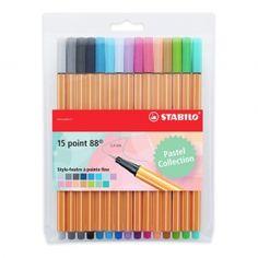 STABILO point 88 -Pochette de 15 stylos-feutres pointe fine-Couleurs pastel : Après les
