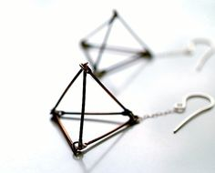 open pyramid dangle earrings by kathiroussel on Etsy, $58.00