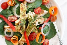 Grilled Chicken and Spinach Salad with Balsamic Vinaigrette - a delicious colorful salad.