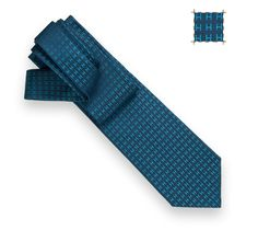 Faconnee H Bicolore Silk twill tie in ardoise and turquoise , hand-folded, 3.15''