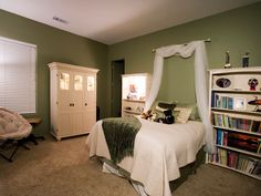 Green is a serene choice for the bedroom. Not only is the earthy color tranquil, but it evokes nature, which will inspire quiet contemplation. Paired with white furniture, it makes for a classic cottage-style bedroom.         Read more: Bedroom Decoration Ideas - Decorating a Master Bedroom - Good Housekeeping