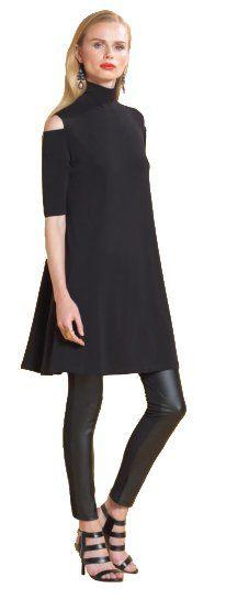 Clara Sun Woo Mock Neck Open Shoulder Soft Knit Black Dress $125