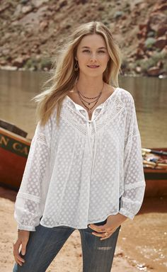 78bbd7be65052d Sheer Happiness Tunic - V-neck tunic, with large dobby dot pattern, ties