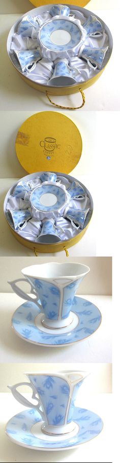Cups and Saucers 36029: Yedi Espresso Turkish Coffee Porcelain Cup And Saucer Nature Blue Leaves Set Of 6 -> BUY IT NOW ONLY: $69.99 on eBay!