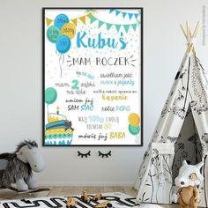 Balony z girlandą niebieski - metryczka roczkowa #plakat #prezent #na #Ścianę #grafika #obrazek #dla #dziecka #pokój #pamiątka #handmade #poster #baby #pokojdziecka #memorabli #birthannouncement #babyroom #plakatydladzieci #roczek