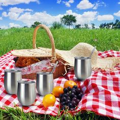 Picnics are usually on everyone's to-do list for the summer and the cool fall season. Not only are they great ways to relax and enjoy the company of family and friends, but they're also an opportunity to indulge in your favorite snacks, With a set of Stainless Steel Tumblers with straws that can be prolonged the temperature of your drinks. Tumbler With Straw, Ways To Relax, Straws, Picnics, Fall Season, Tumblers, Wine Glass, Opportunity, Stainless Steel