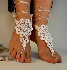 Beach Wedding Barefoot Sandals Nude White shoes