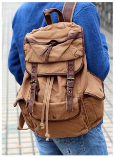 Old School Solid #Canvas Knapsack #Backpack