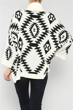Open Front Aztec Cardigan in Cream