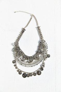 Rhinestone + Coin Layered Bib Necklace