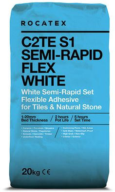 Mega blast pallet deals on ROCATEX C2TE S1 Semi-Rapid Flex White, a single part, flexible wall and floor tile adhesive for fixing natural stone and tiles including ceramics, porcelain and mosaics to a variety of substrates. Suitable for interior and exterior use. With Free Delivery on every deal (except offshore and remote places). #tileadhesive #rocatex #palletdeals #bulkbuy #buythepallet Floor Grout, Wall And Floor Tiles, Brick Rendering, Electric Towel Rail, Electric Underfloor Heating, Insulation Board, Travertine Tile, Adhesive Tiles, Tongue And Groove