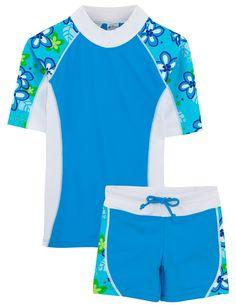 Amazon.com: Tuga Girls UPF 50+ Seaside S/S Rash Guard and Swim Short (UV Sun Protective): Rash Guard Sets: Clothing
