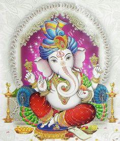 Lord Ganesha (Reprint on Glazed Paper - Unframed) Shiva Art, Ganesha Art, Hindu Art, Ganesh Tattoo, Ganesha Pictures, Ganesh Images, Jai Ganesh, Shree Ganesh, Ganesh Lord