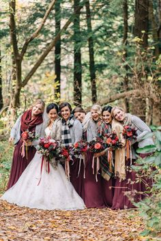 fall bridesmaids - photo by Olive Photography http://ruffledblog.com/woodland-christmas-wedding