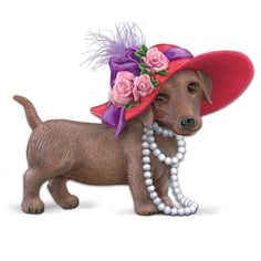 The Red Hot Mama Dachshund Figurine: A Princess From Head To Toe by The Hamilton Collection: