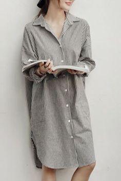 Chic Shirt Collar Long Sleeve Striped Pocket Design Shirt For Women